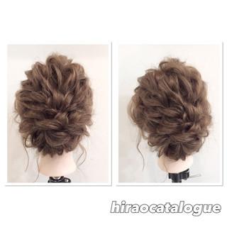 大人かわいい ヘアアレンジ セミロング ロープ編み ヘアスタイルや髪型の写真・画像