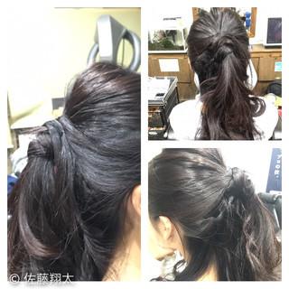 ヘアアレンジ ハーフアップ ウォーターフォール セミロング ヘアスタイルや髪型の写真・画像 ヘアスタイルや髪型の写真・画像