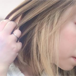 オシャレ ボブ インナーカラー モード ヘアスタイルや髪型の写真・画像