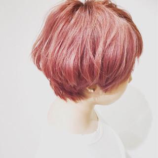 ピンクアッシュ ストリート ショート ハイライト ヘアスタイルや髪型の写真・画像
