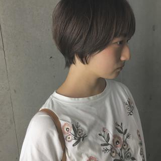 グレージュ 秋 ショート 透明感 ヘアスタイルや髪型の写真・画像