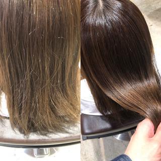 グレージュ トリートメント セミロング 髪質改善トリートメント ヘアスタイルや髪型の写真・画像 ヘアスタイルや髪型の写真・画像