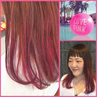 ピンク セミロング ストリート ダブルカラー ヘアスタイルや髪型の写真・画像