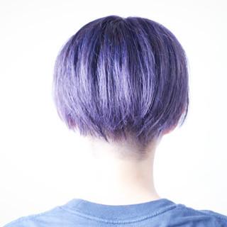 マッシュショート パープル パープルカラー ボブ ヘアスタイルや髪型の写真・画像