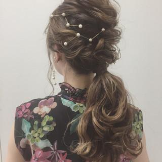 ふわふわ 結婚式 エレガント ロング ヘアスタイルや髪型の写真・画像