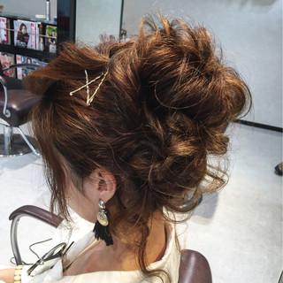 波ウェーブ お団子 ロング ゆるふわ ヘアスタイルや髪型の写真・画像