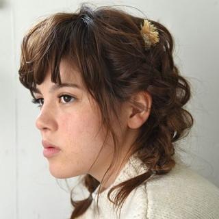 ミディアム ヘアアレンジ パーマ 簡単ヘアアレンジ ヘアスタイルや髪型の写真・画像