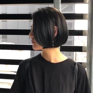 簡単ヘアアレンジ 黒髪 ボブ モード ヘアスタイルや髪型の写真・画像