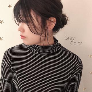 簡単ヘアアレンジ グレー ストリート ヘアアレンジ ヘアスタイルや髪型の写真・画像