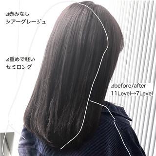 グレージュ ナチュラル 前髪 縮毛矯正 ヘアスタイルや髪型の写真・画像