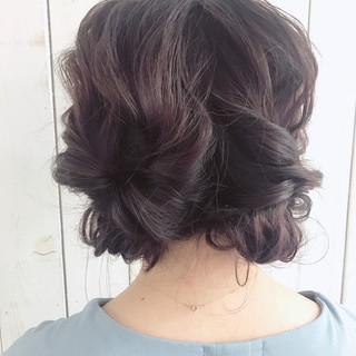 ヘアアレンジ セミロング ナチュラル ショート ヘアスタイルや髪型の写真・画像