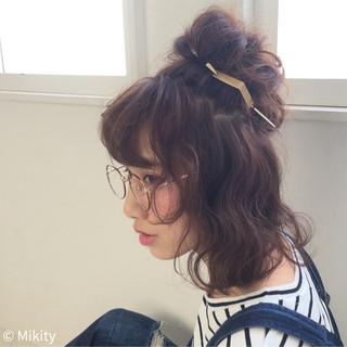 夏 ショート ヘアアレンジ パーマ ヘアスタイルや髪型の写真・画像