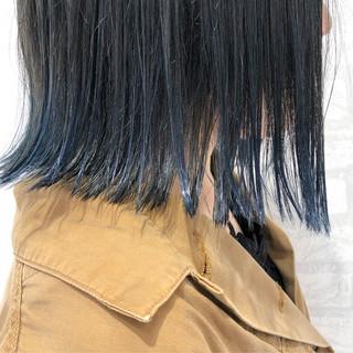 インナーカラー 黒髪 ブルーグラデーション アディクシーカラー ヘアスタイルや髪型の写真・画像