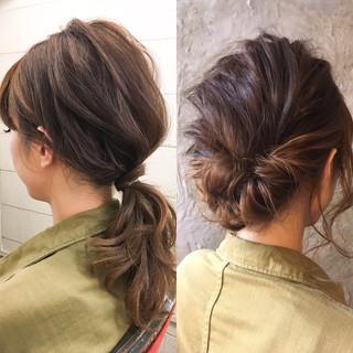 ハーフアップ ミディアム ショート パーマ ヘアスタイルや髪型の写真・画像