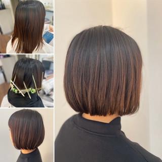 ミニボブ ボブ ナチュラル デジタルパーマ ヘアスタイルや髪型の写真・画像