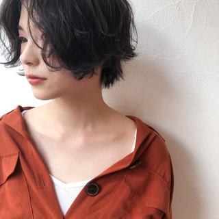 モード 透明感 ハイライト ショートボブ ヘアスタイルや髪型の写真・画像