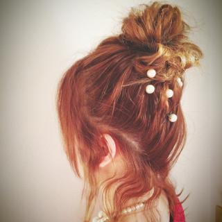 簡単ヘアアレンジ 結婚式 お団子 ショート ヘアスタイルや髪型の写真・画像