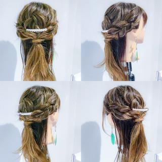 三つ編み ロング 上品 ヘアアレンジ ヘアスタイルや髪型の写真・画像