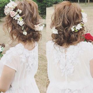 ゆるふわ 大人かわいい 結婚式 パーティ ヘアスタイルや髪型の写真・画像
