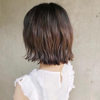 デジタルパーマ 外ハネボブ ミディアム デート ヘアスタイルや髪型の写真・画像