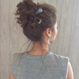 ロング ショート 簡単ヘアアレンジ お団子 ヘアスタイルや髪型の写真・画像