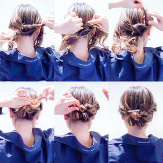 くるりんぱ アップスタイル ヘアアレンジ 簡単ヘアアレンジ ヘアスタイルや髪型の写真・画像