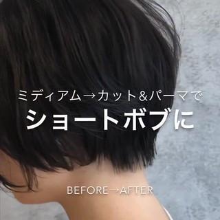 銀座美容室 ナチュラル ショート 黒髪 ヘアスタイルや髪型の写真・画像