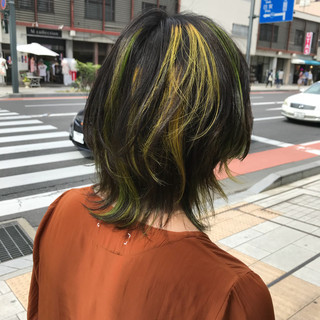 ミディアム モード マッシュ ブリーチ ヘアスタイルや髪型の写真・画像 ヘアスタイルや髪型の写真・画像
