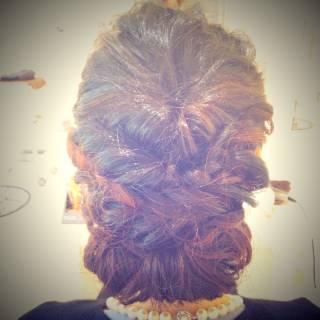 三つ編み くるりんぱ 結婚式 アップスタイル ヘアスタイルや髪型の写真・画像 ヘアスタイルや髪型の写真・画像