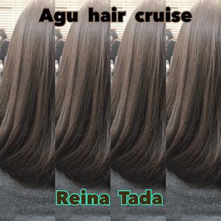 アッシュグレージュ ミディアム フェミニン 透明感 ヘアスタイルや髪型の写真・画像