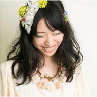 ヘアアレンジ ゆるふわ セミロング 結婚式ヘアアレンジ ヘアスタイルや髪型の写真・画像