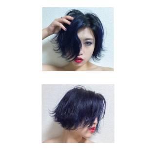 暗髪 ウェットヘア ストリート ショート ヘアスタイルや髪型の写真・画像