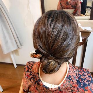 ミディアム ヘアアレンジ エレガント 結婚式 ヘアスタイルや髪型の写真・画像