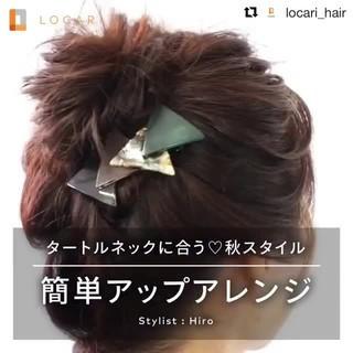 ショート ミディアム 簡単ヘアアレンジ 上品 ヘアスタイルや髪型の写真・画像