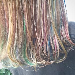 ウェットヘア 外国人風 ハイライト ミディアム ヘアスタイルや髪型の写真・画像