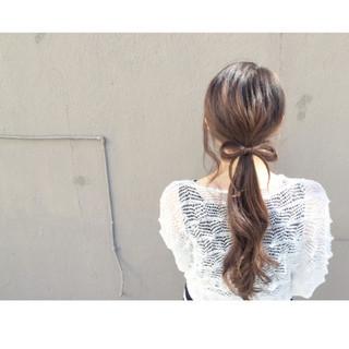 こなれ感 ショート ロング ローポニーテール ヘアスタイルや髪型の写真・画像