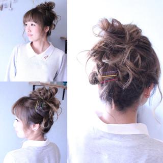 お団子 簡単ヘアアレンジ 大人かわいい ショート ヘアスタイルや髪型の写真・画像