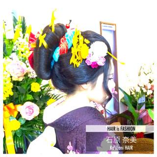 アップスタイル ヘアアレンジ セミロング 着物 ヘアスタイルや髪型の写真・画像