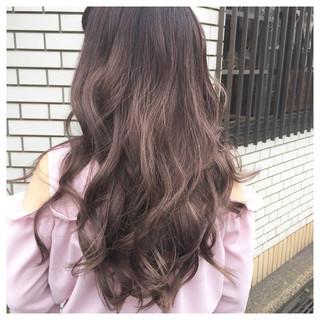 フェミニン ピンク スモーキーカラー グレージュ ヘアスタイルや髪型の写真・画像