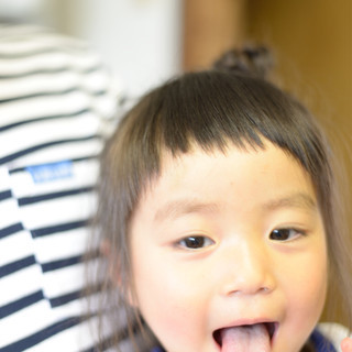 ショートバング 子供 ワイドバング ボブ ヘアスタイルや髪型の写真・画像