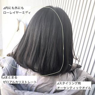 ストレート 前髪 グレージュ 縮毛矯正 ヘアスタイルや髪型の写真・画像
