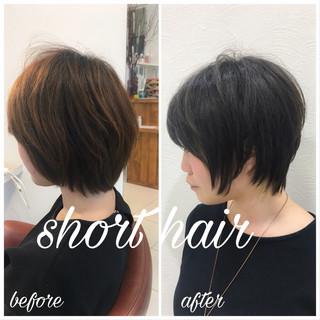 スポーツ ショート 黒髪 オフィス ヘアスタイルや髪型の写真・画像