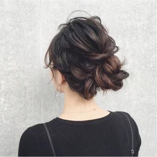 ガーリー ヘアアレンジ 結婚式 ミディアム ヘアスタイルや髪型の写真・画像