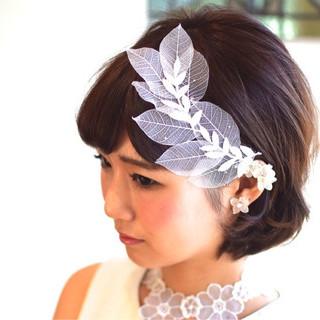 ボブ 結婚式 ブライダル ヘアアレンジ ヘアスタイルや髪型の写真・画像 ヘアスタイルや髪型の写真・画像