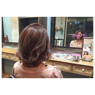 ピンクアッシュ ハイライト ボブ アッシュ ヘアスタイルや髪型の写真・画像