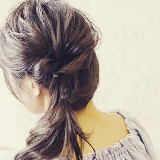 ヘアアレンジ ゆるふわ ハーフアップ ミディアム ヘアスタイルや髪型の写真・画像 ヘアスタイルや髪型の写真・画像