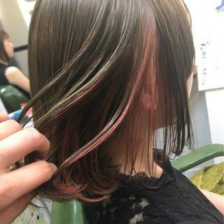 ミディアム ピンク イルミナカラー スポーツ ヘアスタイルや髪型の写真・画像