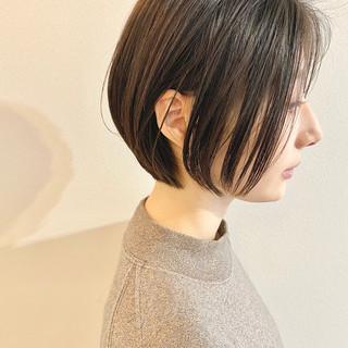 ショートボブ ショート ナチュラル ミニボブ ヘアスタイルや髪型の写真・画像