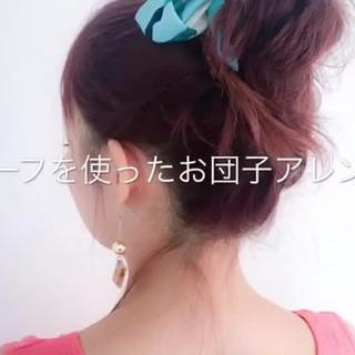 ヘアアレンジ ミディアム フェミニン ルーズ ヘアスタイルや髪型の写真・画像