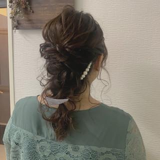 ガーリー ヘアセット セミロング 編みおろし ヘアスタイルや髪型の写真・画像